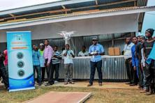 A file photo shows a demonstration of a drone flying and landing by a private entrepreneur during an international trade fair in Kigali, Rwanda. Photo: AFP