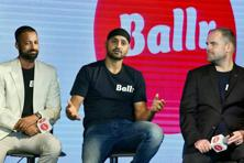 (Left to right) Senior executive of fantasy sport app Ballr, Rohan Kumar; cricketer Harbhajan Singh, and founder and chief executive of Ballr, Sam Jones, at the launch of the app, in New Delhi. Photo: PTI