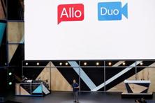 Erik Kay, engineering director at Google, introduces Allo and Duo on stage during the Google I/O 2016 developers conference in Mountain View, California. Photo: Reuters