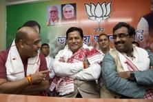 BJP leader and Assam chief minister designate Sarbananda Sonowal (centre). Photo: AP