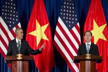 US President Barack Obama and Vietnamese President Tran Dai Quang participate in a press conference in Hanoi, Vietnam. Photo: Carolyn Kaster/AP