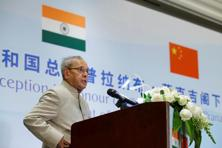 President Pranab Mukherjee delivers a speech at a reception in Beijing, China on 25 May. Photo: Reuters