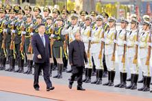 President Pranab Mukherjee and his Chinese counterpart Xi Jinping inspect the guard of honour during a welcome ceremony outside the Great Hall of the People in Beijing on Thursday. Photo: AP