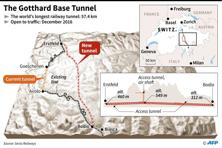 Graphic showing the route of the Gothard Base Tunnel, to be inaugurated 1 June. Photo: Simon Malfatto/AFP