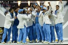 A file photo of Indian team celebrating with the trophy after they won the ICC Champions Trophy final against England in 2013. Photo: Reuters