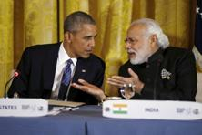 A file photo of US President Barack Obama and Prime Minister Narendra Modi (right) at the White House on 31 March 2016. Photo: Reuters