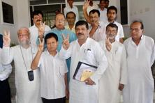 Four rebel Congress MLAs after submitting a letter to speaker Ramendra Chandra Nath signed by six MLAs on their dissociation with the party in Agartala on Tuesday. Photo: PTI