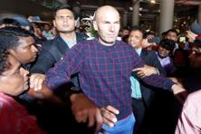 Former French football player and current Real Madrid coach Zinedine Zidane at the Mumbai airport. Kanakia Spaces would have spent approximately $1-1.5 million for Zidane's association, according to industry estimates. Photo: Shailesh Andrade/Reuters