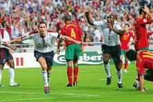 Frank Lampard scores against Portugal, in 2004. Photo: Ross Kinnaird/Getty Images