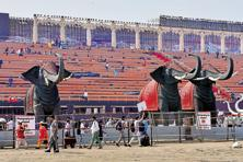 A file photo of preparations for the World Cultural Festival promoted by Art of Living. The NGT in March imposed a Rs4.75 crore fine on the foundation as compensation for holding the event on the eco-sensitive floodplains of the Yamuna river. Photo: Hindustan Times