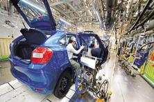 A file photo of the Maruti Suzuki plant at Manesar, Haryana. The auto maker typically pays 5-6% of sales as royalty to Suzuki and also imports materials from Japan, payment for which is made in yen. Photo: Ramesh Pathania/Mint