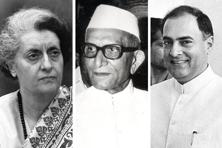 (From left) Indira Ganhi, Morarji Desai and Rajiv Gandhi. Photographs by Hindustan Times