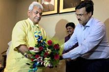 Newly appointed telecom minister Manoj Sinha (left). Photo: PTI