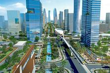 An artist's impression of Amaravati, the Singapore-designed capital of Andhra Pradesh that's taking shape on the banks of the Krishna river.