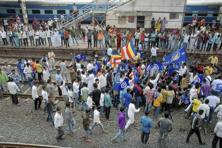 A file photo of members of the Dalit community protesting against attacks on them, in Surat. Photo: PTI