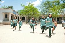 Students taking part in a sports event sponsored by Mahindra Group's CSR initiative 'Nanhikali' at a government school in Mahabubnagar, Andhra Pradesh. Initiatives of the group are pan India, but it prefers to work in areas around its plants or in potential markets of its various business verticals.