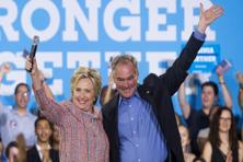 A file photo taken on 14 July 2016 shows US Democratic presidential candidate Hillary Clinton and US Senator Tim Kaine. Photo: AFP
