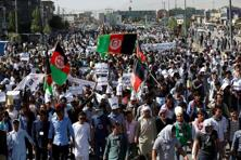 Saturday's demonstrators had been demanding the 500 kV transmission line from Turkmenistan to Kabul be rerouted through two provinces with large Hazara populations.  Photo: Reuters