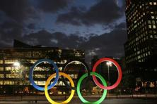 Olympic rings seen at the entrance of office building ahead of the Rio 2016 Olympic Games in Sao Paulo. Photo: Reuters
