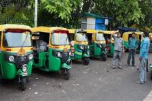 Auto drivers on strike against app-based taxi services in Delhi on Tuesday. Photo: PTI