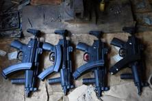 Replicas of Turkish and Bulgarian made MP5 submachine guns are seen at a workshop in the tribal area of Darra Adamkhel, some 35 kilometres south of Peshawar. Photo: AFP
