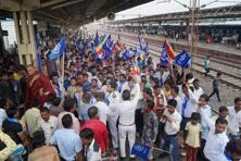 Dalits protesting at Surat's Udhna Junction earlier this month.Photo: PTI