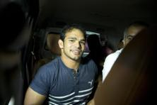 Wrestler Narsingh Yadav leaves after a hearing at the NADA in New Delhi on 27 July. Photo: AP