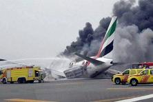 An Emirates airline flight from India to Dubai crash-lands at the Dubai International Airport on Wednesday. Photo: PTI
