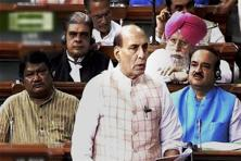Union home minister Rajnath Singh speaks in the Lok Sabha in New Delhi on Monday during the ongoing monsoon session. Photo: PTI Photo
