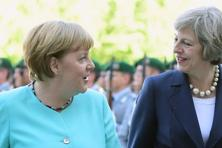 German chancellor Angela Merkel (left) and British Prime Minister Theresa May. Photo: AFP