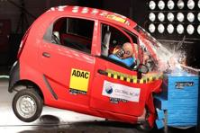 In this handout photograph released in January 2014 by Global NCAP, an Indian Tata Nano car seen during an independent crash test at an undisclosed location in India. Photo: AFP/Global NCAP