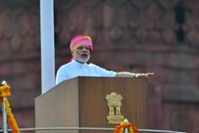Prime Minister Narendra Modi delivering a speech on India's 70th Independence at the Red Fort in New Delhi on Monday. Photo: Pradeep Gaur/Mint