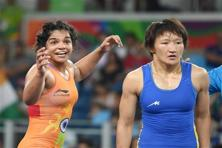 Sakshi Malik won the bronze medal in the 58kg category women's freestyle wrestling defeating Kyrgyzstan's Aisuluu Tynybekova, at the 2016 Olympic Games in Rio on Wednesday. Photo: PTI