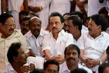 Opposition leader MK Stalin along with other DMK legislators during a protest outside the Tamil Nadu assembly in Chennai on Thursday. Photo: PTI
