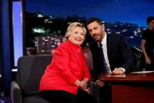 Democratic presidential nominee Hillary Clinton tapes an appearance on 'Jimmy Kimmel Live' on ABC in Los Angeles on 22 August. Photo: Reuters