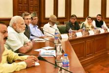 An opposition delegation from Jammu and Kashmir during a meeting with the Prime Minister Narendra Modi in New Delhi on Monday. Photo: PTI