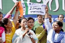 West Bengal chief minister Mamata Banerjee addressing students during the Trinamool Congress' student arm foundation day celebrations in Kolkata on Friday. Photo: PTI