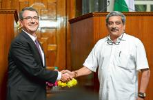 A file photo of US defence secretary Ashton Carter shaking hands with defence minister Manohar Parrikar in New Delhi in April 2016. Photo: AFP