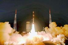 A file photo of Indian Space Research Organisation (ISRO)'s PSLV C 29 carrying six satellites of Singapore. Photo: PTI