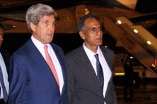 US secretary of state John Kerry (left) with US ambassador to India Richard Verma in New Delhi on Monday. Photo: PTI
