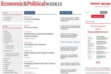 A screen grab of the 'Economic and Political Weekly' website.