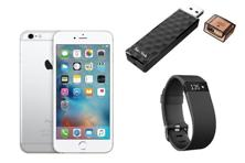 Apple iPhone 6s; SanDisk Connect Wireless Stick and Fitbit Charge HR (clockwise from left).