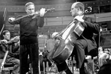 Violinist Yehudi Menuhin and Russian cellist and pianist Mstislav Rostropovich at London's Royal Albert Hall in 1964. Photo: Ted West/Central Press/Getty Images