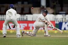 New Zealand's Tom Latham plays a shot on the second day of the first Test match against India at Green Park in Kanpur on Friday. Photo: PTI