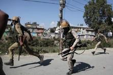 Curfew was imposed in some parts of Srinagar district and restrictions were in place elsewhere in the valley after a protest was called by the separatists. Photo: AP