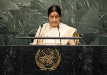Foreign minister Sushma Swaraj delivering speech at the United Nations General Assembly on 26 September. Photo: Reuters