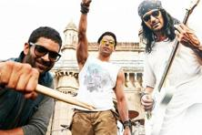 A still from 'Rock On 2', where the stardom of Farhan Akhtar (centre) and his faux-rockstar persona weigh down the album.