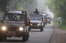 An Indian army convoy moves near the Line of Control in Akhnoor, Jammu on Friday. Photo: AP