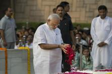 Prime Minister Narendra Modi pays floral tributes to Mahatma Gandhi, the father of the nation, on his 147th birth anniversary at Rajghat in New Delhi. Photo: AP