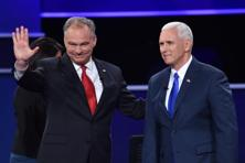 Democratic vice presidential candidate Tim Kaine (L) and Republican vice presidential candidate Mike Pence (R) at the US vice-presidential debate at Longwood University in Farmville, Virginia. Photo: AFP